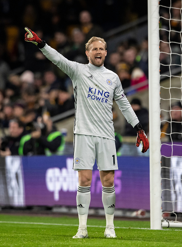 Leicester City's Kasper Schmeichel <br /> <br /> Photographer Andrew Kearns/CameraSport<br /> <br /> The Premier League - Wolverhampton Wanderers v Leicester City - Friday 14th February 2020 - Molineux - Wolverhampton<br /> <br /> World Copyright © 2020 CameraSport. All rights reserved. 43 Linden Ave. Countesthorpe. Leicester. England. LE8 5PG - Tel: +44 (0) 116 277 4147 - admin@camerasport.com - www.camerasport.com