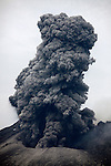 Sakurajima Volcano erupting, with ash cloud rising from Japan's most active volcano, 2012.