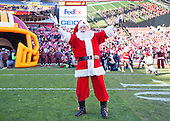 Santa Claus celebrates prior to the Buffalo Bills playing the Washington Redskins at FedEx Field in Landover, Maryland on Sunday, December 20, 2015.<br /> Credit: Ron Sachs / CNP