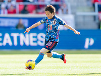 HARRISON, NJ - MARCH 08: Yuka Momiki #10 of Japan passes the ball during a game between England and Japan at Red Bull Arena on March 08, 2020 in Harrison, New Jersey.
