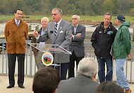 November 4, 2011  (Bladensburg, MD)  Ray LaHood, U.S. Secretary of Transportation (at podium), joined federal, state, and local officials to celebrate the recent completion of 12 miles of walking and biking trail in the District and 1.5 miles in Maryland.  As part of a larger system, both trails will eventually provide nearly 60 miles of continuous trails.  The Anacostia River Watersheds' project was also selected to stimulate local economies, create local jobs, and improve quality of life under the Urban Waters Federal Partnership.   (L-R)  D.C. Mayor Vincent Gray; U.S. Senator Ben Cardin (D-MD); Bob Perciasepe, EPA Deputy Administrator; Maryland Governor Martin O'Malley; Ken Salazar, U.S. Secretary of Transportation.      (Photo by Don Baxter/Media Images International)