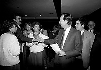 January 1987 File Photo - Montreal, Quebec, CANADA - Liberal Party of Quebec's leader and Quebec Premier Robert Bourassa (R) a shake hands with paty members during the Liberal convention at Queen Elizabeth-Hotel January 24-25, 1987
