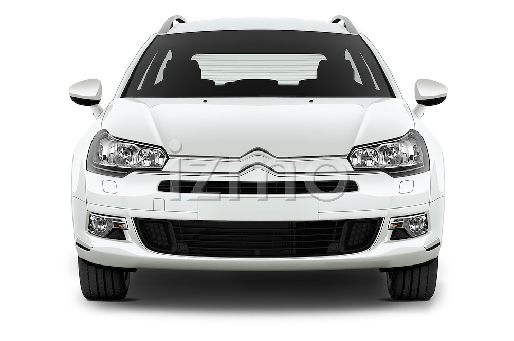 Car photography straight front view of a 2015 Citroen C5-Tourer-XTR Hydractive-Exclusive 5 Door wagon Front View