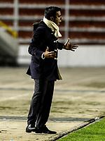 LA PAZ - BOLIVIA - 09 - 03 - 2017: Cesar Farias, técnico de de The Strongest, durante partido entre The Strongest de Bolivia y el Independiente Santa Fe de Colombia, por la fase de grupos del grupo 2 de la fecha 1 por la Copa Conmebol Libertadores Bridgestone en el estadio Hernando Siles Suazo, de la ciudad de La Paz. / Cesar Farias, coach of The Strongest, during a match between The Strongest of Bolivia and Independiente Santa Fe of Colombia for the group stage, group 2 of the date 1 for the Conmebol Libertadores Bridgestone in the Hernando Siles Suazo Stadium in La Paz city. Photos: VizzorImage / Javier Mamani / APG / Cont.