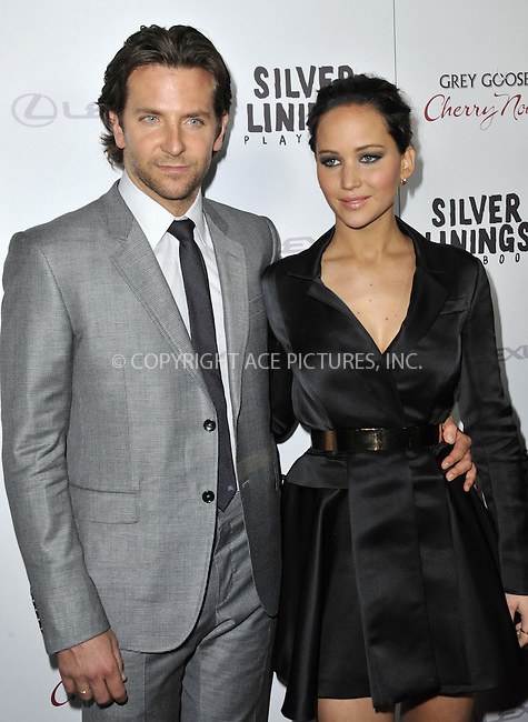 WWW.ACEPIXS.COM....November 19 2012, LA....Actors Bradley Cooper and Jennifer Lawrence arriving at a special screening of 'Silver Linings Playbook'  at AMPAS Samuel Goldwyn Theater on November 19, 2012 in Beverly Hills, California.......By Line: Peter West/ACE Pictures......ACE Pictures, Inc...tel: 646 769 0430..Email: info@acepixs.com..www.acepixs.com