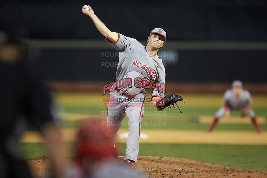 North Carolina State Wolfpack relief pitcher Andrew Blake (25) in action against the Wake Forest Demon Deacons at David F. Couch Ballpark on April 18, 2019 in  Winston-Salem, North Carolina. The Demon Deacons defeated the Wolfpack 7-3. (Brian Westerholt/Four Seam Images)