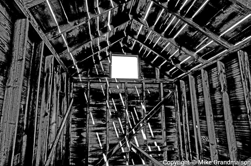 Farm shed interior in a ghost town<br /> Fusiler<br /> Saskatchewan<br /> Canada