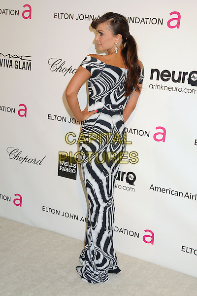 Karina Smirnoff.21st Annual Elton John Academy Awards Viewing Party held at West Hollywood Park, West Hollywood, California, USA..February 24th, 2013.oscars full length black white off the shoulder pattern dress hand on hip back behind rear.CAP/ADM/BP.©Byron Purvis/AdMedia/Capital Pictures.