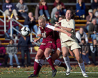 Boston College forward Alaina Beyar (17) shields ball from Boston College forward Brooke Knowlton (16). Florida State University defeated Boston College, 1-0, at Newton Soccer Field, Newton, MA on October 31, 2010.