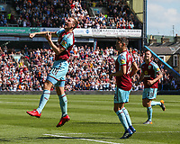 Burnley's Chris Wood celebrates scoring the opening goal <br /> <br /> Photographer Alex Dodd/CameraSport<br /> <br /> The Premier League - Burnley v Bournemouth - Sunday 13th May 2018 - Turf Moor - Burnley<br /> <br /> World Copyright &copy; 2018 CameraSport. All rights reserved. 43 Linden Ave. Countesthorpe. Leicester. England. LE8 5PG - Tel: +44 (0) 116 277 4147 - admin@camerasport.com - www.camerasport.com