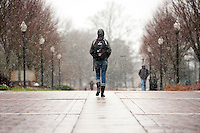Snow flurries - students walking Old Main Plaza<br />  (photo by Megan Bean / &copy; Mississippi State University)