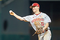 Nebraska Cornhuskers second baseman Jake Schelppenbach (6) makes a throw to first base during the Houston College Classic against the LSU Tigers on March 8, 2015 at Minute Maid Park in Houston, Texas. LSU defeated Nebraska 4-2. (Andrew Woolley/Four Seam Images)