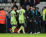 Manchester City's Nicolas Otamendi and Yaya Toure leave the pitch without acknowledging the away support<br /> <br /> Barclays Premier League- Leicester City vs Manchester City - King Power Stadium - England - 29th December 2015 - Picture - David Klein/Sportimage