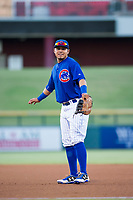 AZL Cubs first baseman Kevin Zamudio (4) on defense against the AZL Diamondbacks on August 11, 2017 at Sloan Park in Mesa, Arizona. AZL Cubs defeated the AZL Diamondbacks 7-3. (Zachary Lucy/Four Seam Images)