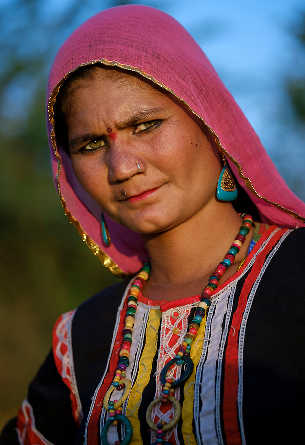 PUSHKAR, INDIA - CIRCA NOVEMBER 2016: Portrait of Indian Woman