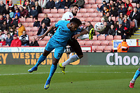Shaquile Coulthirst of Barnet heads the ball into the net but its ruled out for offside during Sheffield United vs Barnet, Emirates FA Cup Football at Bramall Lane on 6th January 2019