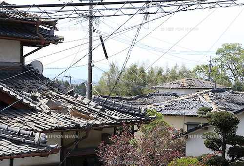 Kumamoto, Japan - April 15 : Roofs of houses were broken by Kumamoto Earthquake last night at Mashiki-machi, Kumamoto, Japan. The photograph was taken on April 15th, 2016. (Photo by Chiaki Kodama/AFLO)