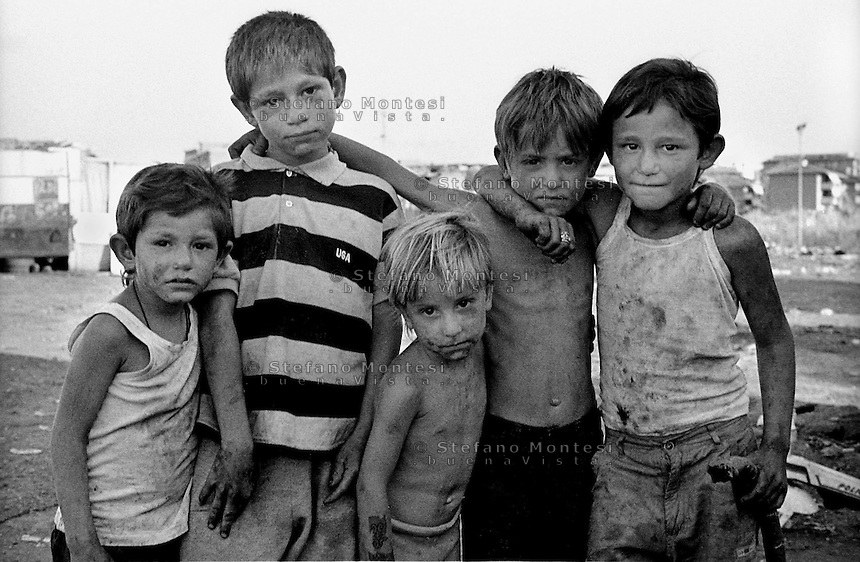 Rome   August 1999.Children romani Bosnian, in the Rom's camp  Casilino 700.