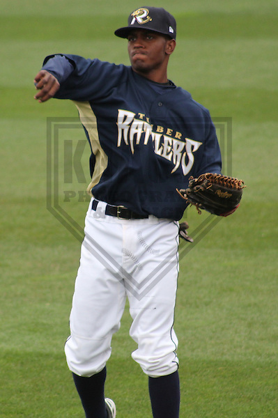 APPLETON - April 2012: Adrian Williams (4)  of the Wisconsin Timber Rattlers, Class-A affiliate of the Milwaukee Brewers, during a game against the Peoria Chiefs on April 15, 2012 at Time Warner Cable Field at Fox Cities Stadium in Appleton, Wisconsin. (Photo by Brad Krause).