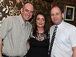 Paul McGovern and his wife Karen with Alan Shearman from Shearman's Bar. Photo:Colin Bell/pressphotos.ie
