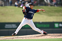 Pitcher Angel Padron (33) of the Greenville Drive delivers a pitch in a game against the Augusta GreenJackets on Wednesday, April 25, 2018, at Fluor Field at the West End in Greenville, South Carolina. Augusta won, 9-2. (Tom Priddy/Four Seam Images)
