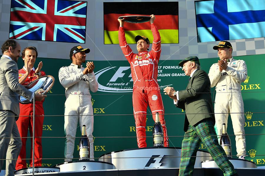 March 26, 2017: Sebastian Vettel (DEU) #5 from the Scuderia Ferrari team celebrates his win at the 2017 Australian Formula One Grand Prix at Albert Park, Melbourne, Australia. Photo Sydney Low