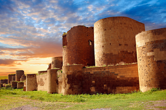 Ruins of the Armenian City walls built by  King Smbat (977–989) of Ani archaelogical site on the Ancient Silk Road , Kars , Anatolia, Turkey