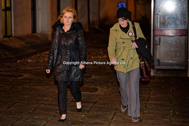Pictured: Penelope John (L) leaves Swansea Crown Court. Tuesday 09 January 2018<br /> Re: A mother and son will go on trial at Swansea crown court charged with murdering 84 year old Betty Guy.<br /> Mrs Guy died on November 7, 2011, and her body was cremated soon afterwards.<br /> Her daughter, Penelope John, aged 50, and her grandson, Barry Rogers, 32, have previously denied her murder and an alternative charge of manslaughter.<br /> The court has previously heard that the prosecution case involved 75 hours of recorded statements made by the defendants.