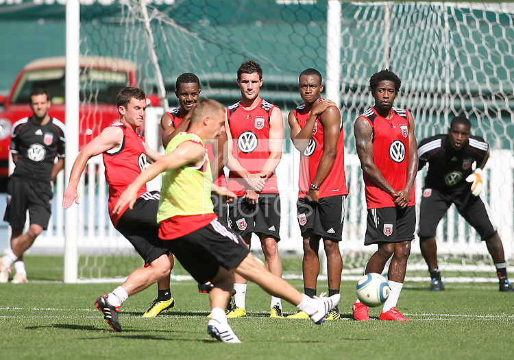 Danny Allsopp #9 of DC United fires in a free kick at a practice session for DC United and AC Milan at RFK Stadium in Washington DC on may 25 2010.