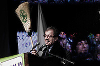 Bergamo 10-04-2012: Roberto Maroni  durante la «Serata dell'orgoglio leghista», dopo lo scandalo  dell'inchiesta sui fondi della Lega...Bergamo 10-04-2012: Roberto Maroni during the Padania Pride political convention
