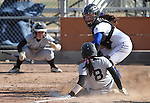 Western Nevada's Sydney Darby tags out Patti Ferguson during a college softball game against College of Southern Idaho in Carson City, Nev., on Friday, March 22, 2013..Photo by Cathleen Allison