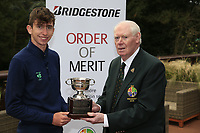 Tom McKibbin winner of the junior Bridgestone Order of Merit pictured with Jim McGovern President GUI at the presentations in the GUI National Academy, Maynooth, Kildare, Ireland. 30/11/2019.<br /> Picture Fran Caffrey / Golffile.ie<br /> <br /> All photo usage must carry mandatory copyright credit (© Golffile | Fran Caffrey)