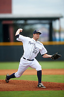 Lakeland Flying Tigers relief pitcher Austin Kubitza (22) during a game against the Brevard County Manatees on August 8, 2016 at Henley Field in Lakeland, Florida.  Lakeland defeated Brevard County 6-2.  (Mike Janes/Four Seam Images)