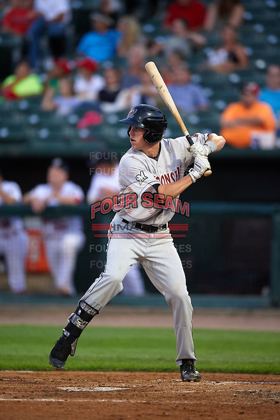 Wisconsin Timber Rattlers second baseman Tucker Neuhaus (10) at bat during a game against the Peoria Chiefs on August 21, 2015 at Dozer Park in Peoria, Illinois.  Wisconsin defeated Peoria 2-1.  (Mike Janes/Four Seam Images)