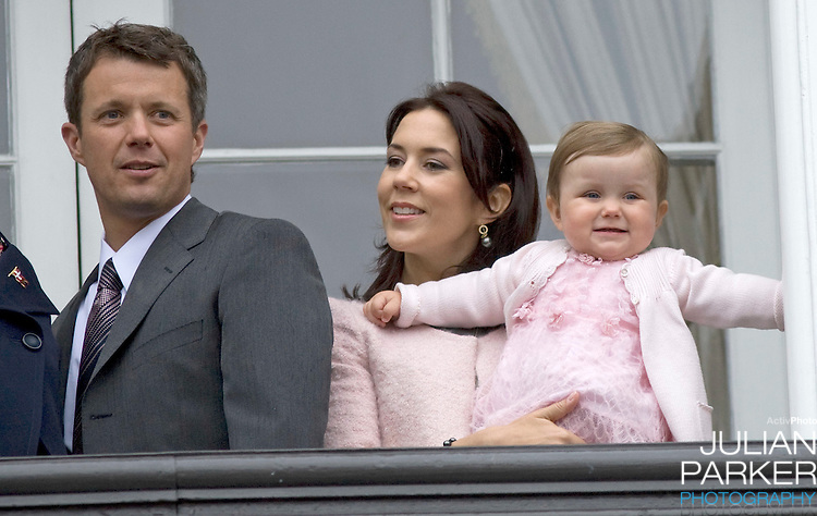 Crown Prince Frederik with Crown Princess Mary with their daughter Princess Isabella (age 1) at Amalienborg palace in Copenhagen for Prince Frederik's 40th birthday celebrations.