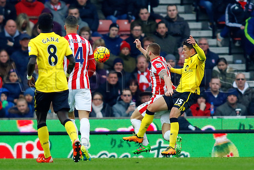 27.02.2016. Britannia Stadium, Stoke, England. Barclays Premier League. Stoke City versus Aston Villa. Marko Arnautovic of Stoke City is fouled by Ashley Westwood of Aston Villa and is awarded a penalty