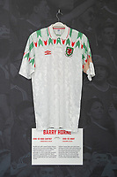 Barry Horne' 1990/93 Wales away shirt is displayed at The Art of the Wales Shirt Exhibition at St Fagans National Museum of History in Cardiff, Wales, UK. Monday 11 November 2019