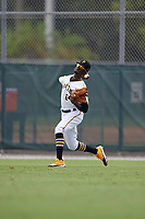 GCL Pirates outfielder Deion Walker (6) throws the ball in during a Gulf Coast League game against the GCL Red Sox on August 1, 2019 at Pirate City in Bradenton, Florida.  GCL Red Sox defeated the GCL Pirates 11-3.  (Mike Janes/Four Seam Images)
