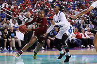 GREENSBORO, NC - MARCH 06: Marnelle Garraud #15 of Boston College drives past Mikayla Boykin #12 of Duke University during a game between Boston College and Duke at Greensboro Coliseum on March 06, 2020 in Greensboro, North Carolina.