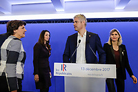 ANNIE GENEVARD (SECRETAIRE GENERALE), VALERIE BOYER (SECRETAIRE GENERALE ADJOINTE EN CHARGE DES RELATIONS AVEC LA SOCIETE CIVILE), LAURENT WAUQUIEZ (PRESIDENT DES REPUBLICAINS), VIRGINIE DUBY-MULLER (SECRETAIRE GENERALE ADJOINTE EN CHARGE DES FEDERATIONS) - POINT PRESSE DE LAURENT WAUQUIEZ AU QG DES REPUBLICAINS A PARIS, FRANCE, LE 13/12/2017.