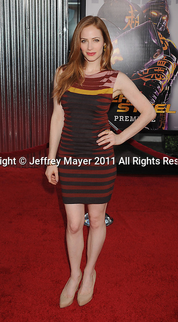 """UNIVERSAL CITY, CA - OCTOBER 02: Jaime Ray Newman attends the """"Real Steel"""" Los Angeles Premiere at Gibson Amphitheatre on October 2, 2011 in Universal City, California."""
