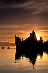 Sunrise over tufa tower and calm water, South Shore, Mono Lake, Eastern Sierra, California
