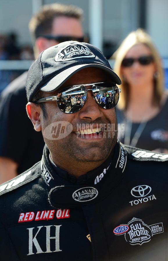 Sept. 23, 2012; Ennis, TX, USA: NHRA top fuel dragster driver Khalid Albalooshi during the Fall Nationals at the Texas Motorplex. Mandatory Credit: Mark J. Rebilas-US PRESSWIRE