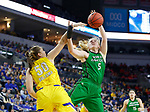 SIOUX FALLS, SD - MARCH 7: Melissa Leet #5 of the North Dakota Fighting Hawks shot get's blocked by Megan Bultsma #50 of the South Dakota State Jackrabbits at the 2020 Summit League Basketball Championship in Sioux Falls, SD. (Photo by Richard Carlson/Inertia)