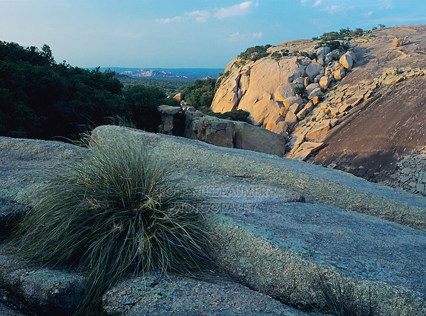 Dome and Rockformations at sunset, Enchanted Rock State Natural Area, Fredericksburg,Texas, USA