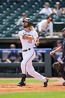 Hunter Tackett (21) of the Miami Hurricanes follows through and a grand slam against the Georgia Tech Yellow Jackets during Game One of the 2017 ACC Baseball Championship at Louisville Slugger Field on May 23, 2017 in Louisville, Kentucky.  The Hurricanes walked-off the Yellow Jackets 6-5 in 13 innings. (Brian Westerholt/Four Seam Images)