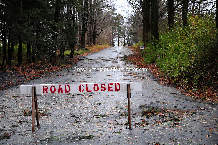 BRIDGEWATER, CT, 30 OCT 12-103012AJ01- Second Hill Road in Brigewater was closed Tuesday morning because a large tree fell on power lines and dangled over the road.  Alec Johnson/ Republican-American