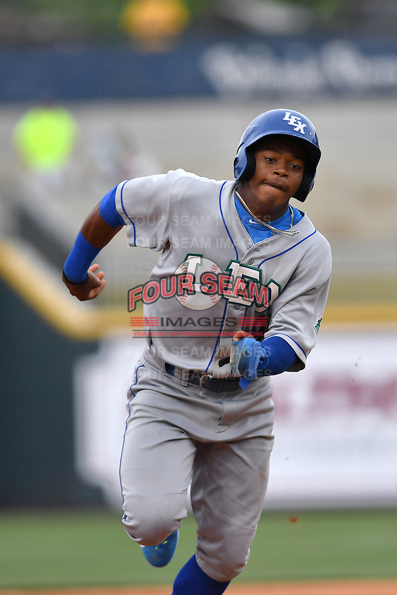 Center fielder Khalil Lee (9) of the Lexington Legends runs toward third base in a game against the Columbia Fireflies on Sunday, April 23, 2017, at Spirit Communications Park in Columbia, South Carolina. Lexington won, 4-2. (Tom Priddy/Four Seam Images)