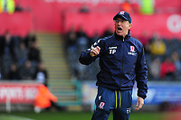 Tony Pulis Manager of Middlesbrough reacts during the Sky Bet Championship match between Swansea City and Middlesbrough at the Liberty Stadium in Swansea, Wales, UK. Saturday 06 April 2019