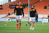 Blackpool's Ben Heneghan and Jimmy Ryan during the pre-match warm-up <br /> <br /> Photographer Kevin Barnes/CameraSport<br /> <br /> The EFL Sky Bet League One - Blackpool v Gillingham - Saturday 4th May 2019 - Bloomfield Road - Blackpool<br /> <br /> World Copyright © 2019 CameraSport. All rights reserved. 43 Linden Ave. Countesthorpe. Leicester. England. LE8 5PG - Tel: +44 (0) 116 277 4147 - admin@camerasport.com - www.camerasport.com